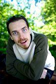 Crazy man portrait, goofy face