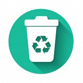 White Recycle Bin With Recycle Symbol Icon Isolated With Long Shadow. Trash Can Icon. Garbage Bin Si poster