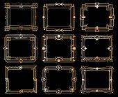Art Deco Frames. Gold Deco Image Frame Borders, Golden Geometry Line Patterns. 1920s Vintage Luxury  poster