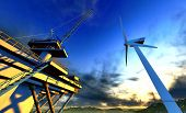 stock photo of off-shore  - Oil rig and off shore wind  turbine - JPG