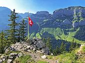Alpine Peaks Bogartenfirst And Schafberg In The Alpstein Mountain Range And In The Appenzellerland R poster