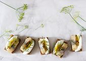 Tradition Danish Open Sandwich Smorrebrod With Herring, Egg, Mustard And Dill. Dark Bread Sandwich. poster