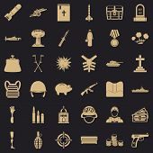 War Army Icons Set. Simple Style Of 36 War Army Icons For Web For Any Design poster