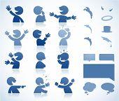 perfekt für Infografiken oder Comics sprechendes Zeichen in verschiedenen Haltungen soll