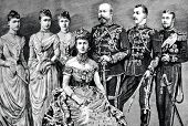 The family of Prince of Wales (UK): Engraving by Shyubler. Published in magazine