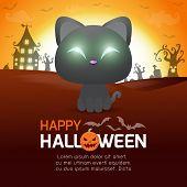 Happy Halloween Poster, Black Cat In The Moonlight, Halloween Banner, Halloween Trick Or Treating Ba poster