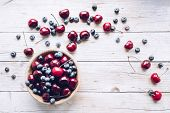 Bowl Of Ripe Cherries And Blueberries. Large Collection Of Freshly Picked Ripe Berries On Wooden Bac poster