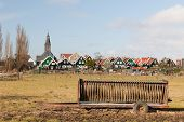 Farmers wagon in front of typical Dutch village Marken