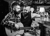 Friends Relaxing In Bar Or Pub. Real Men Leisure. Hipster Brutal Bearded Spend Leisure With Friend I poster