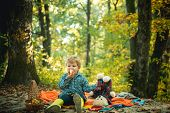 Minute To Relax. Autumn Picnic With Teddy Bear. Boy In Rubber Boots Relaxing In Forest Sit Picnic Bl poster