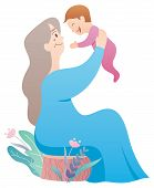 Cartoon Illustration Of Grandmother Holding Her Grandchild. poster