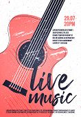 Vector Indie Rock Live Music Poster Template With Acoustic Guitar. Festival Pop Punk Design. poster