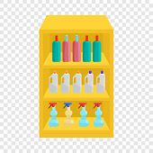 Shelves In Shop With Chemicals Icon. Cartoon Illustration Of Shelves With Chemicals Vector Icon For  poster