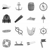 Vector Illustration Of Nautical And Voyage Logo. Set Of Nautical And Seafaring Vector Icon For Stock poster