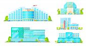 Hospital Buildings, Emergency And Ambulance Clinic, Modern City Architecture Icons. Vector Hospital  poster