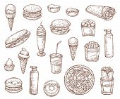 Fast Food Sketch Menu Icons, Burgers, Pizza And Sandwiches. Vector Fastfood Meal And Snacks Sketch,  poster