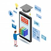 Online Education Isometric Icons Composition With Little Man Taking Books From Smartphone Electronic poster