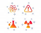 Attention And Radiation Icons. Chemistry Flask Sign. Atom Symbol. Random Dynamic Shapes. Gradient At poster