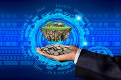 Business Man Holding Coin And  Round Soil Ground Cross Section With Earth Land And Green Grass, Smal poster