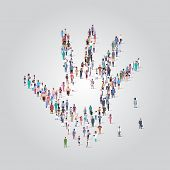 People Crowd Gathering In Shape Of Palm Hand Icon Social Media Community Concept Different Occupatio poster