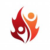 Flame Life Vector Icon With Two People In Abstract Style On The White Background. Fire Icon For Your poster