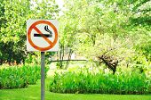 No Smoking Metal Sign In The Park