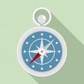 Navigation Ship Compass Icon. Flat Illustration Of Navigation Ship Compass Icon For Web Design poster