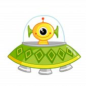 Cute Space Monster Sitting In A Flying Saucer. The Newcomer On A White Background In A Spaceship. poster