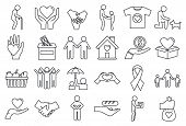 Volunteering Charity Icons Set. Outline Set Of Volunteering Charity Icons For Web Design Isolated On poster