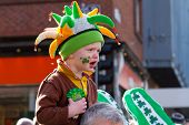 LIMERICK, IRELAND - MARCH 17: Unidentified child with an Irish hat participates in a parade for St.