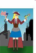 Steampunk Lady Liberty On Fourth Of July