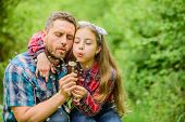 Happy Family Vacation. Father And Little Girl Enjoy Summertime. Dad And Daughter Blowing Dandelion S poster