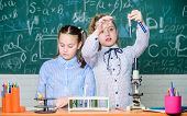Little Kids Learning Chemistry. Chemistry Equipment. Students Do Biology Experiments With Microscope poster