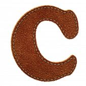 Leather alphabet. Leather textured letter C. Vector eps10 background