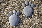 Two Tiny Stone Feet And Toes On Pebble Stone Background, Stone In The Shape Of A Human Feet. Closeup poster