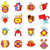 Mediaeval Icons Set. Cartoon Set Of 16 Mediaeval Vector Icons For Web Isolated On White Background poster