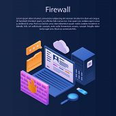 Firewall Protection Concept Background. Isometric Illustration Of Firewall Protection Vector Concept poster
