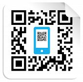 stock photo of qr-code  - QR code label with the blue mobile icon - JPG