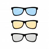 Eyeglasses Icon Vector Isolated On White Background. Three Eye Glasses Color Simple Sign. Eyeglasses poster