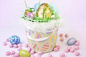 Basket Full Of Easter Eggs