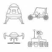 Bitmap Design Of Mars And Space Logo. Set Of Mars And Planet Stock Bitmap Illustration. poster