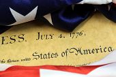 stock photo of preamble  - Constitution of the United States and American Flag - JPG