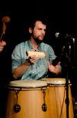 VANCOUVER, CANADA - FEBRUARY 9: jazz band Tambura Rasa. Robin Layne (percussion) on the stage of The