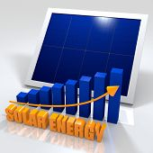 Solar energy image with photovoltaic panel and bar chart