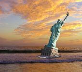 End Of Liberty - Post-Apocalyptic vision of the statue of liberty in the surfline.