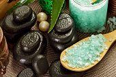 Spa Treatments, sea salt and mineral stones, clos up image