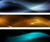Horizontal banner set. Wavy patterns on dark background with light effects.