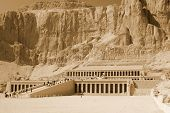 foto of mortuary  - Mortuary Temple of Queen Hatshepsut is located beneath the cliffs at Deir el Bahari on the west bank of the Nile near the Valley of the Kings in Egypt - JPG