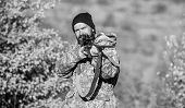 Bearded Hunter Spend Leisure Hunting. Focus And Concentration Of Experienced Hunter. Hunting Masculi poster