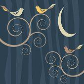 Retro Bird Flock On Patterned Background At Night